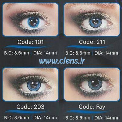 عکس لنز رنگی آبی برند رینبو