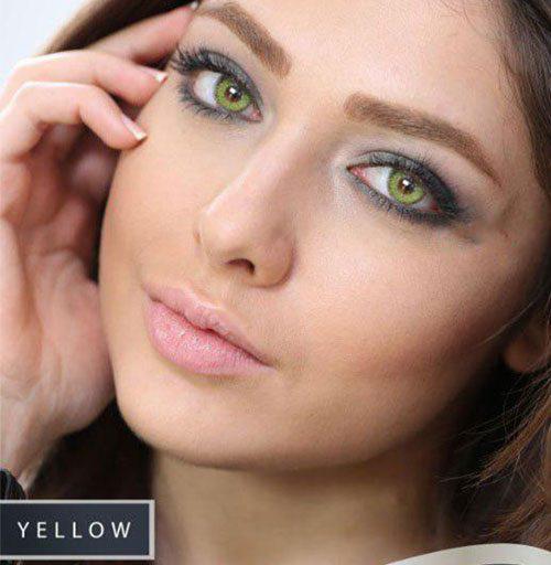خرید لنز سبز زیتونی رنگ یلو برند سولو